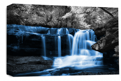 Waterfall Wall Art Blue Grey White Landscape Canvas Forrest Picture
